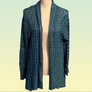 CAROL LITTLE open knit asymmetrical cardigan.